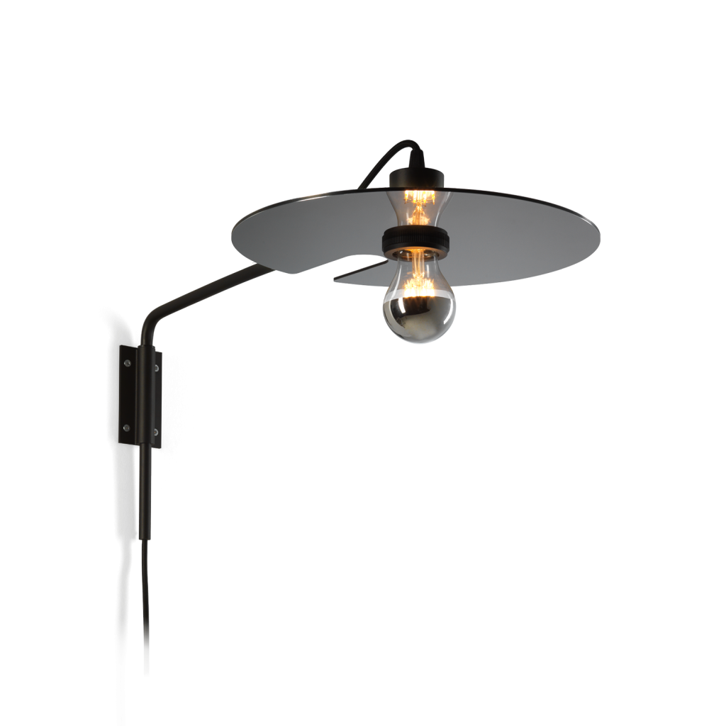 מנורת קיר מעוצבת דיסקית שחורה הארה כלפי מטה