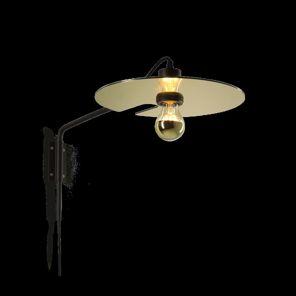 מנורת קיר מעוצבת דיסקית מוזהבת הארה כלפי מטה