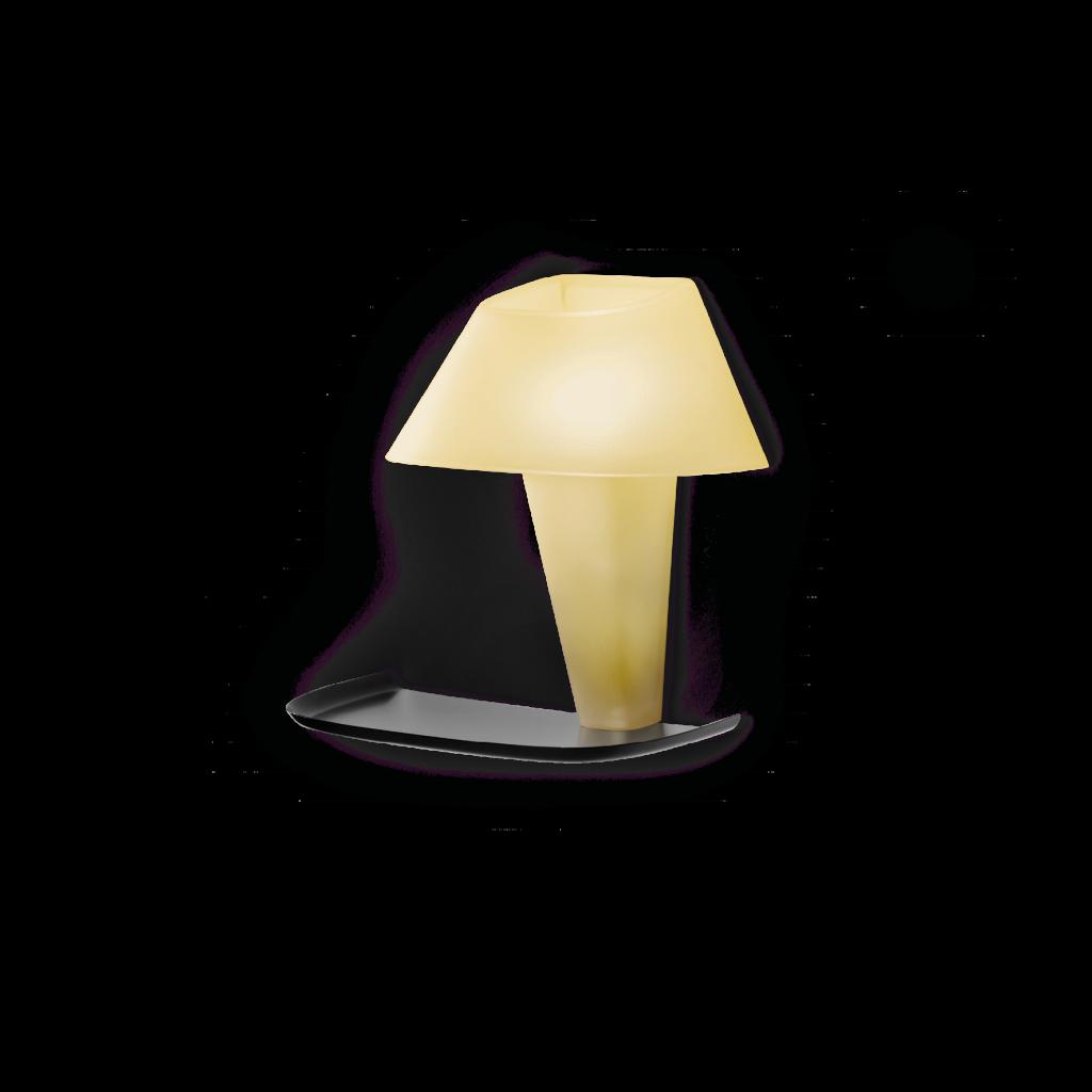 מנורת קריאה קיר צהוב בהיר עם מדף לחפצים קטנים