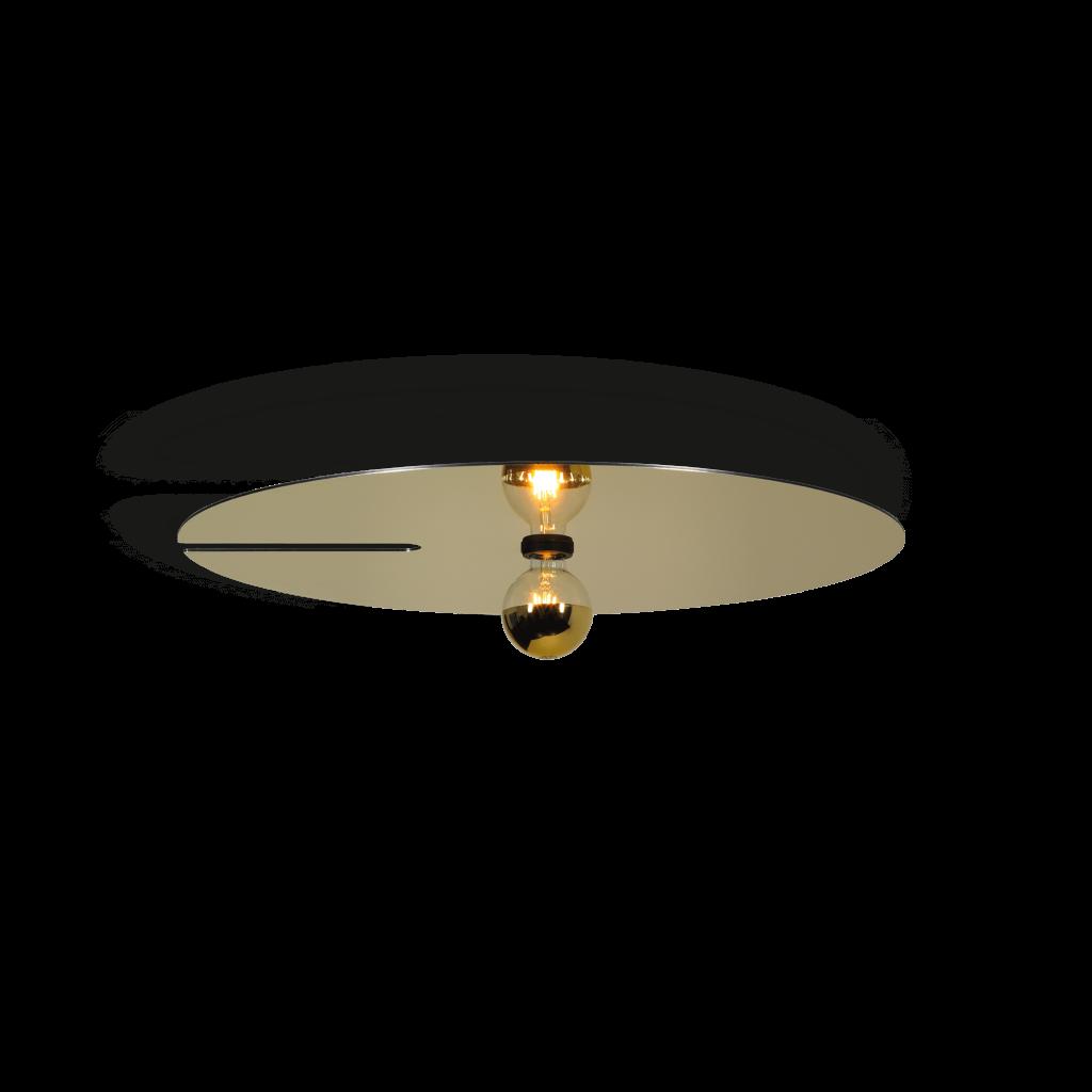 תאורה לסלון צמוד תקרה דיסקית מוזהבת