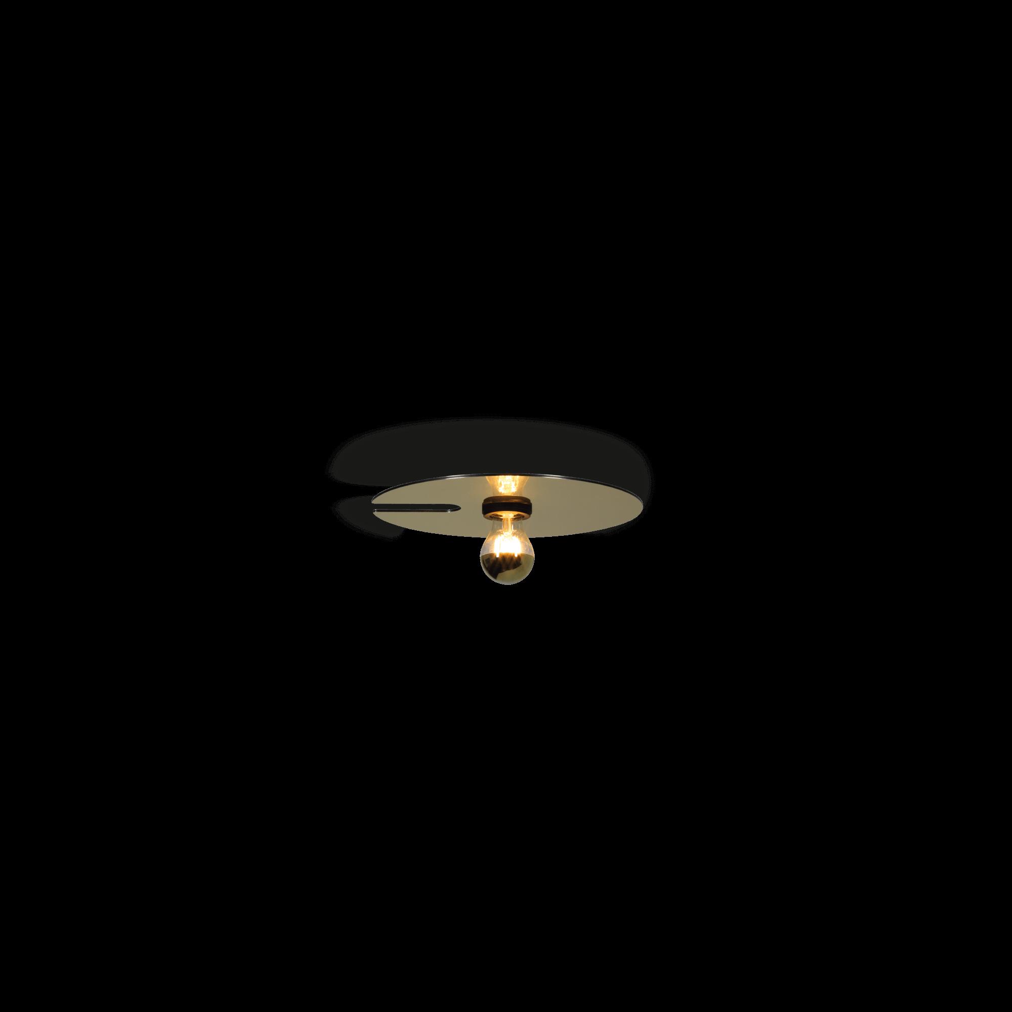 תאורה לסלון צמוד תקרה דיסקית מוזהבת קטנה
