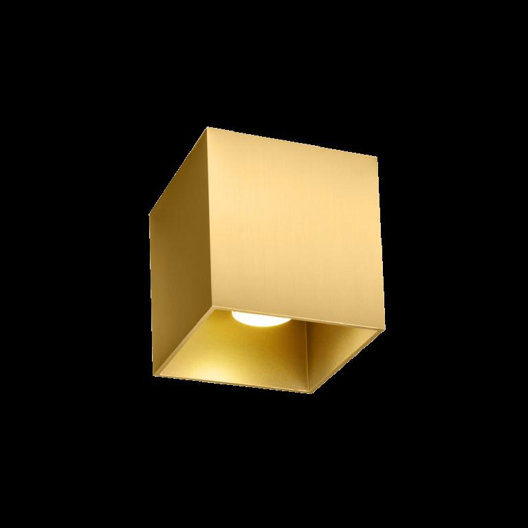 מנורה צמודת תקרה צילינדר מוזהב מרובע