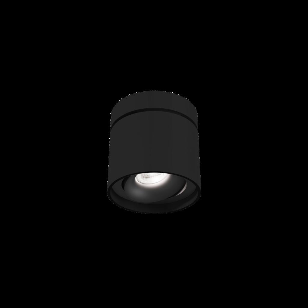 גוף תאורה צילינדר צמוד תקרה עגול שחור מתכוונן