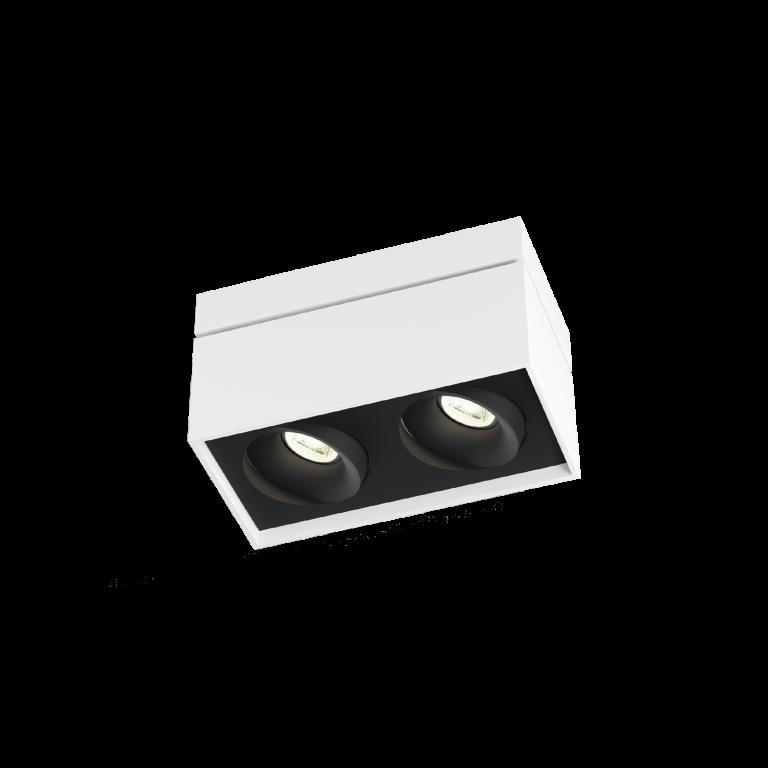 מנורות צמודות תקרה מלבן לבן שתי נורות מתכווננות