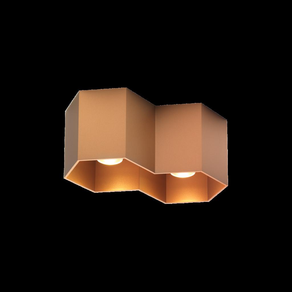 מנורת צילינדר צמודת תקרה מעוצב שני משושים גוון זהב