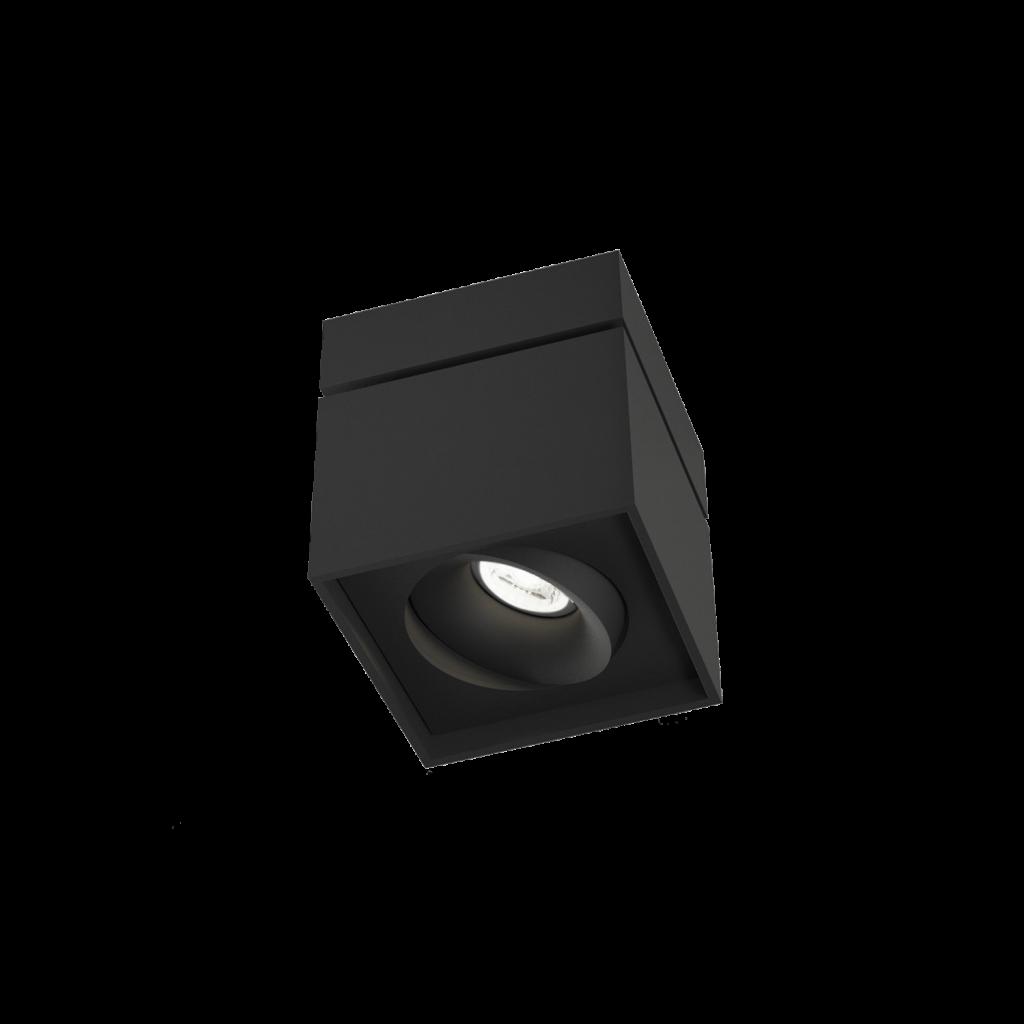 גוף תאורה צילינדר צמוד תקרה מרובע שחור מתכוונן