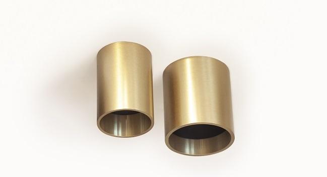 זוג מנורות תקרה צילינדר עגול גוון פליז מוזהב