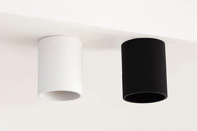 מנורות תקרה צמודות צילינדר עגול שחור ולבן