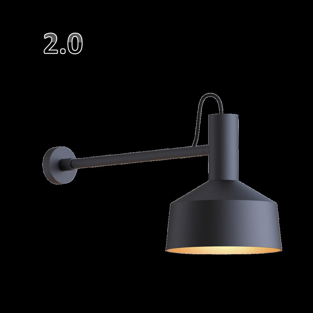 מנורת קיר שחורה קונוס רחב הארה כלפי מטה
