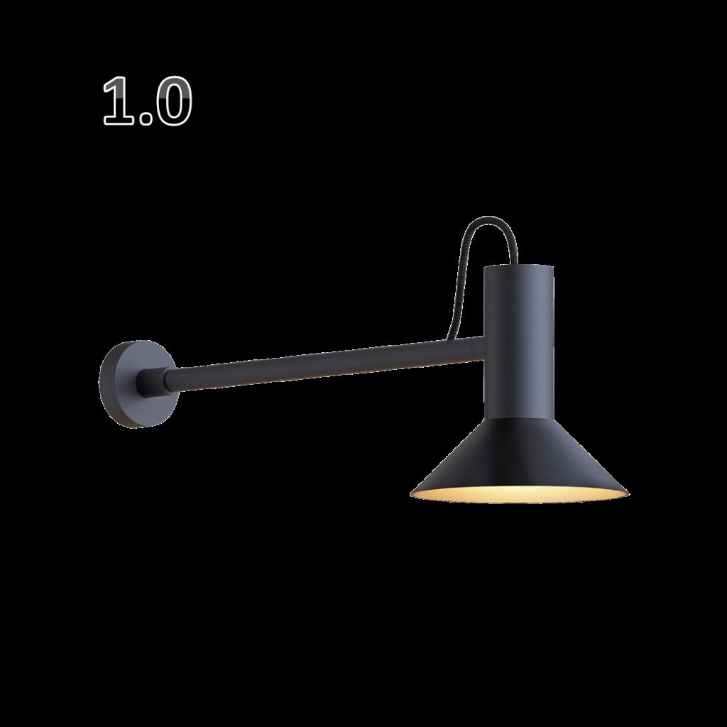 מנורת קיר שחורה קונוס קטן הארה כלפי מטה