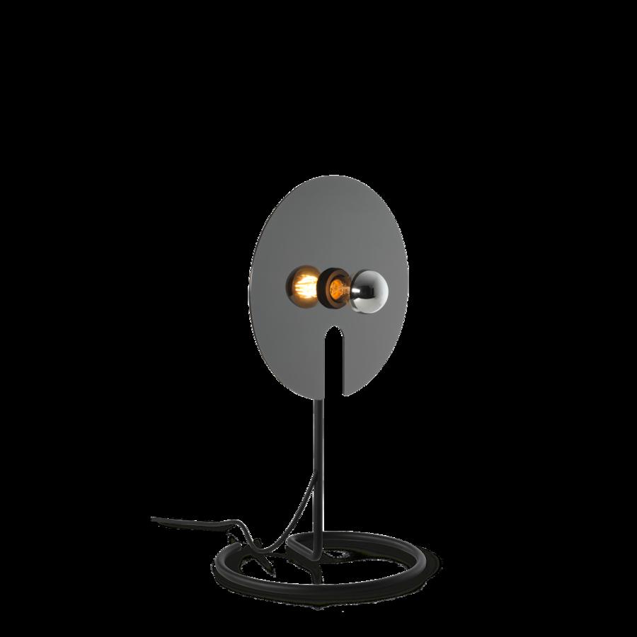 מנורת שולחן דמויין מיקרופן דיסקית עגולה כסופה מנורה חשופה