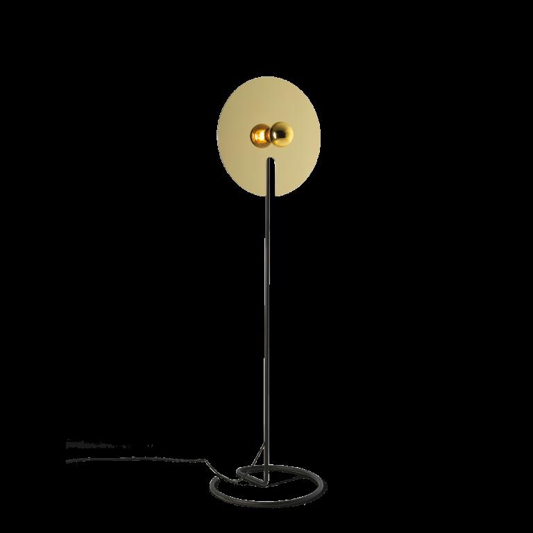 מנורה עומדת נורה חשופה דיסקית מוזהבת עגולה