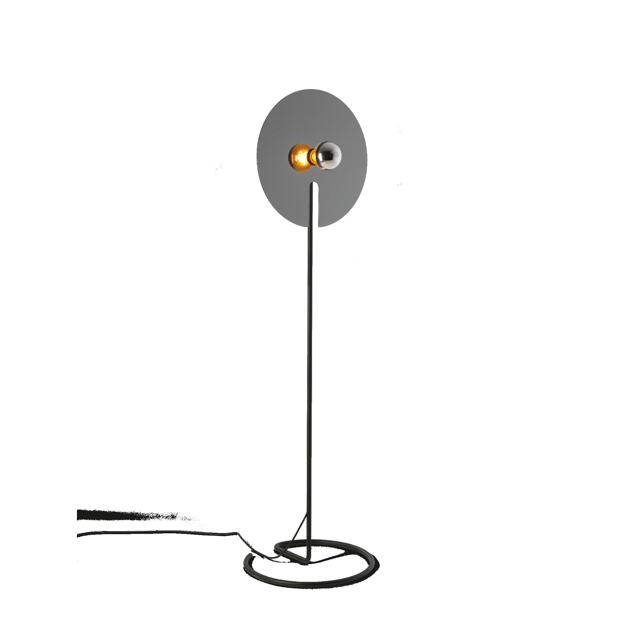 מנורת עמידה נורה חשופה דיסקית מתכת עגולה