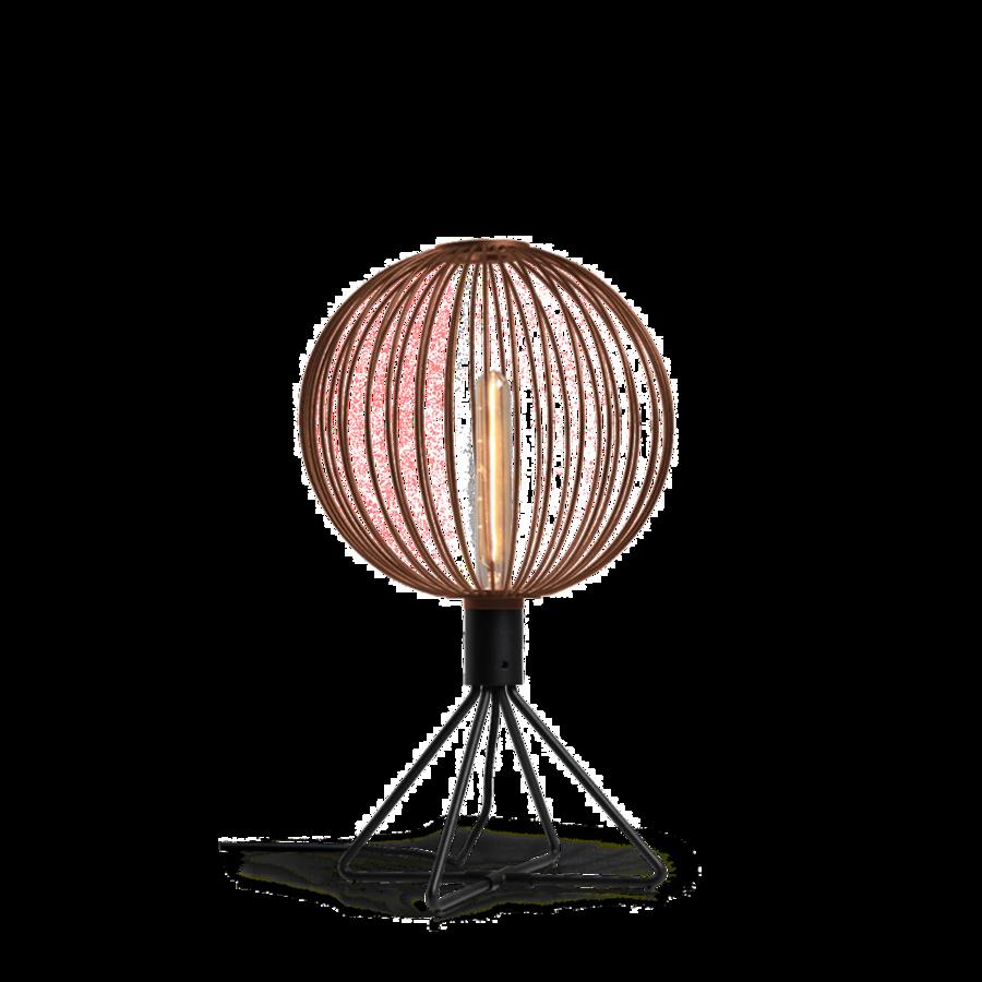 מנורת שולחן מעוצבת כדור מתכת חלול נורה חשופה