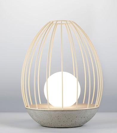 מנורת שולחן מעוצבת ביצה חלולה בסיס בטון