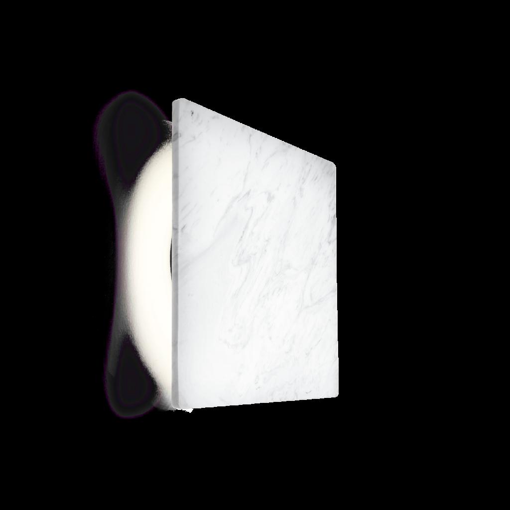 מנורת קיר אינלייט מרובעת דוגמת שיש לבן