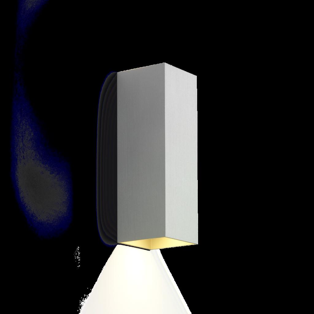 מנורת קיר אפ דאון צינור ריבועי אפור