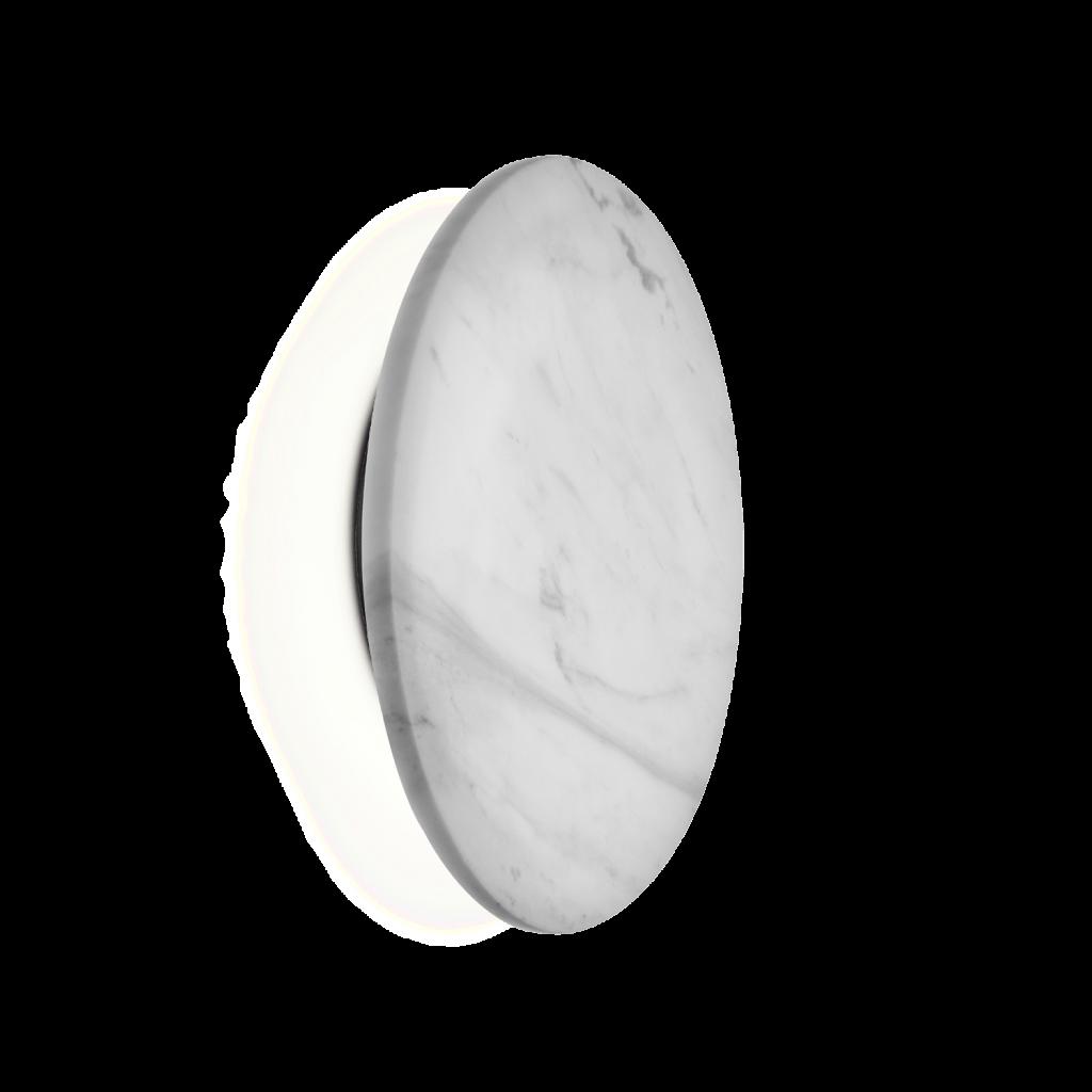 מנורת קיר אינלייט עיגול לבן מרקם שיש