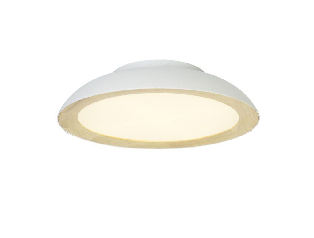 מנורה צמודת תקרה לבנה עם טבעת עץ פנימית
