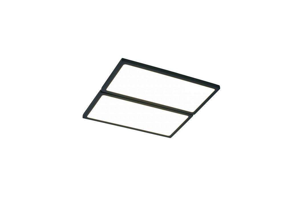 תאורה צמודת תקרה מרובעת שני מלבנים צמודים מסגרת שחורה