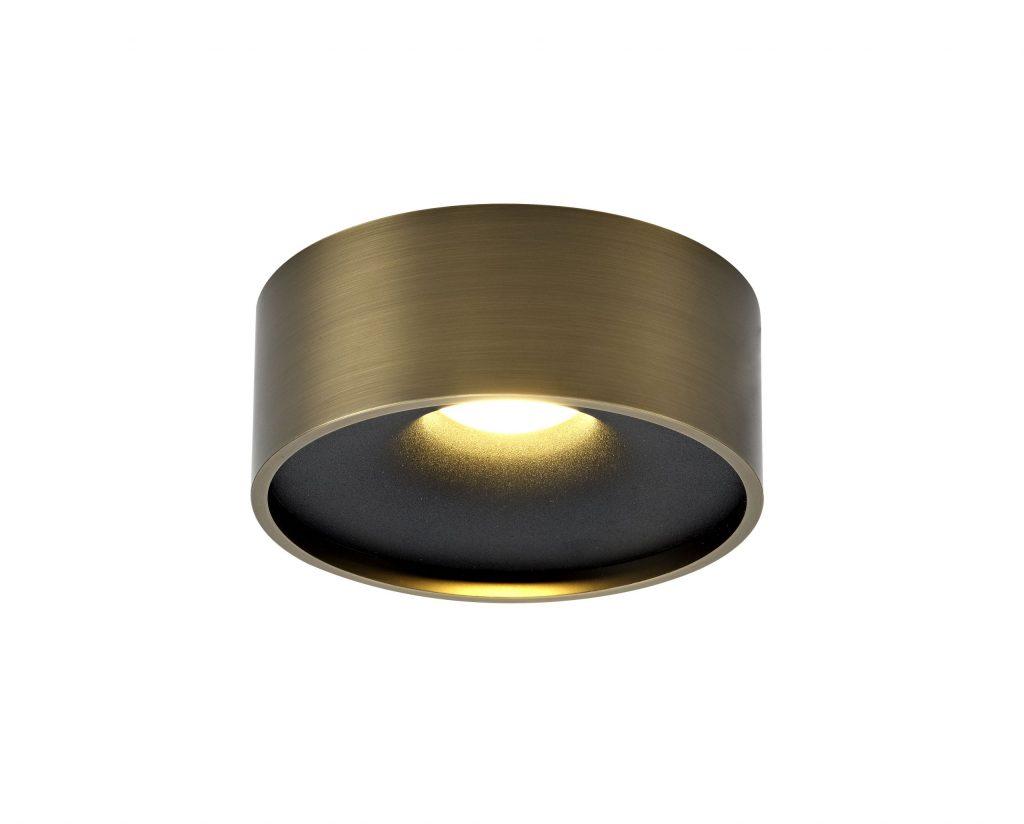 מנורת צילינדר עבה צמוד תקרה עגול ברונזה