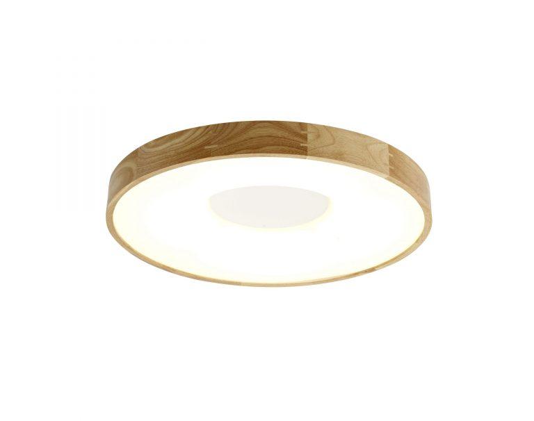 גוף תאורה צמוד תקרה עגול מסגרת עץ
