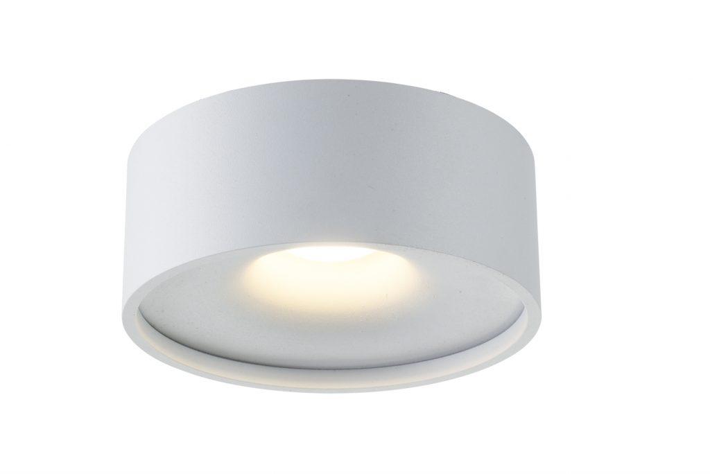גוף תאורה צילינדר רחב פחוס לבן צמוד תקרה