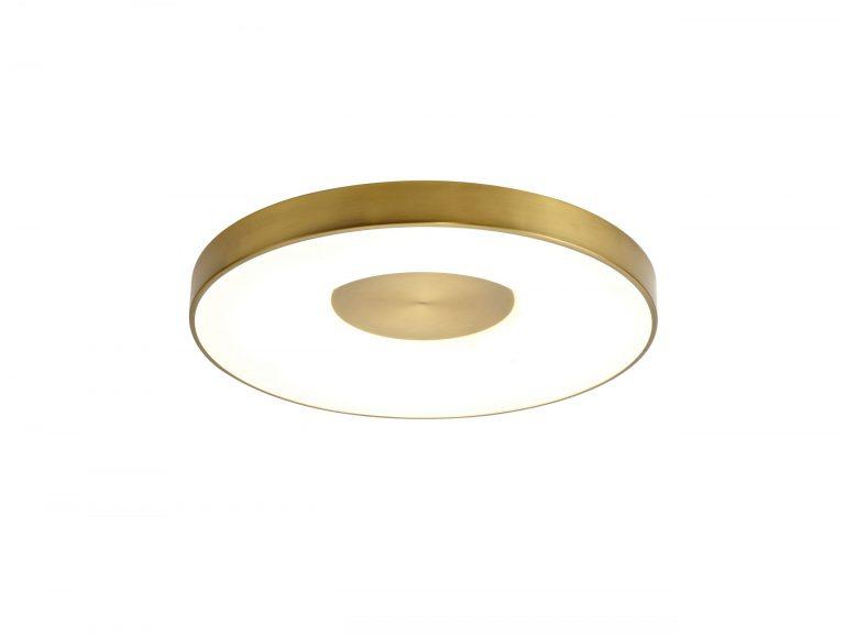 תאורה לסלון צמוד תקרה גוף עגול מסגרת בגוון ברונזה