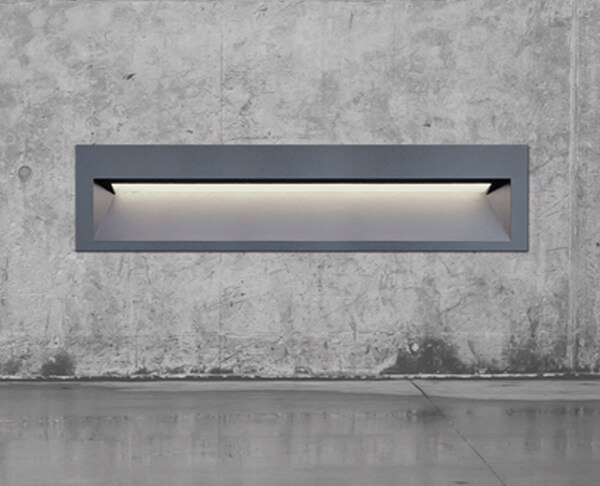 תאורת חוץ שקוע קיר מוגן מים מלבן רוחבי אפור