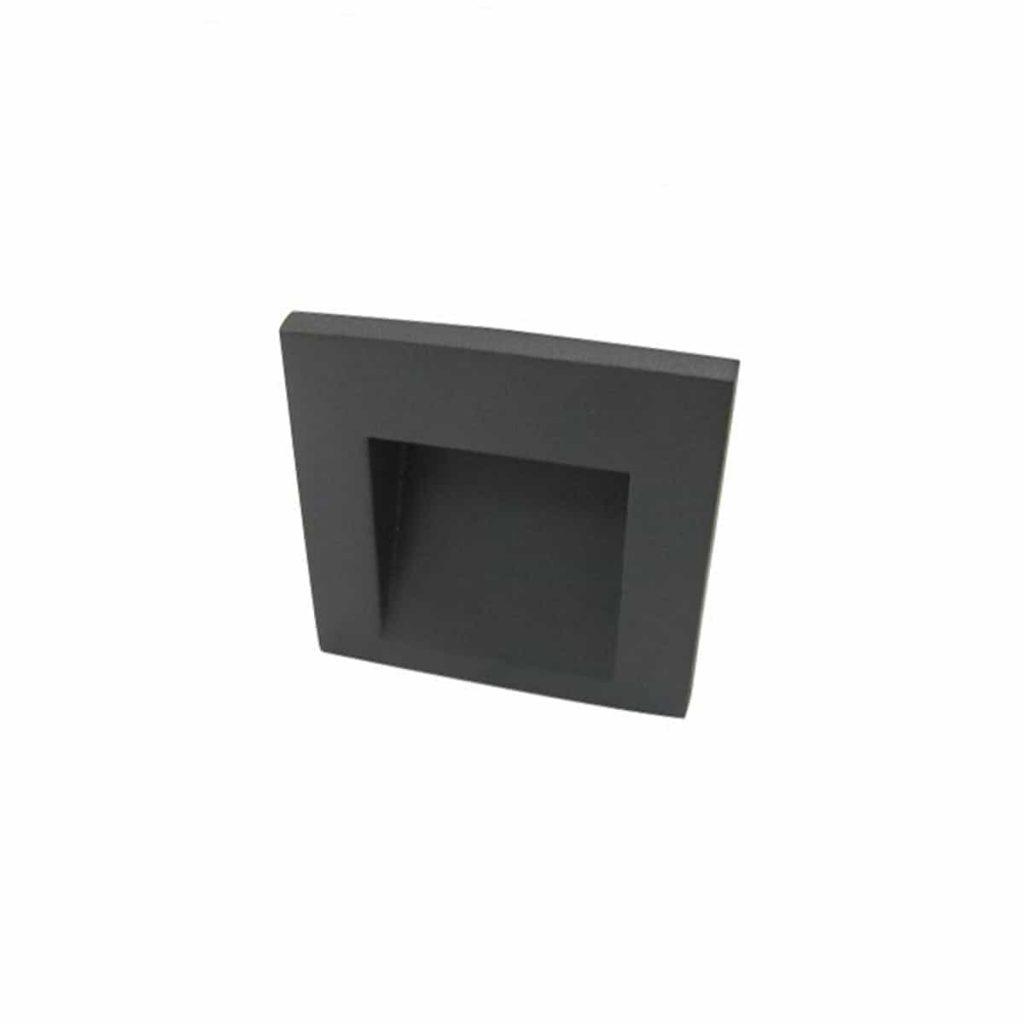 תאורת חוץ צמוד קיר שקוע מוגן מים ריבועי שחור