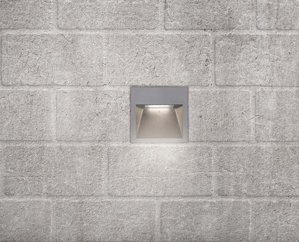 תאורת חוץ צמוד קיר שקוע מוגן מים ריבועי אפור