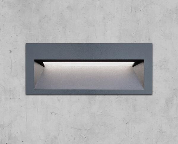 תאורת חוץ צמוד קיר שקוע אפור מוגן מים מלבני אפור