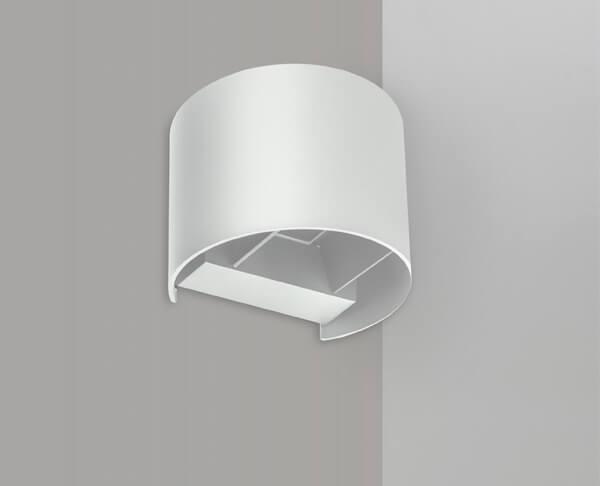 תאורת חוץ צמודת קיר מוגנת מים צילינדר חתוך לבן