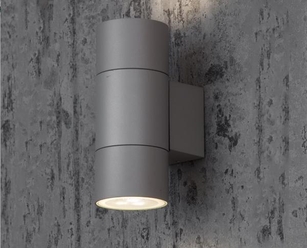תאורת חוץ צמוד קיר מוגנת מים - מנורת קיר צילינדר אפור