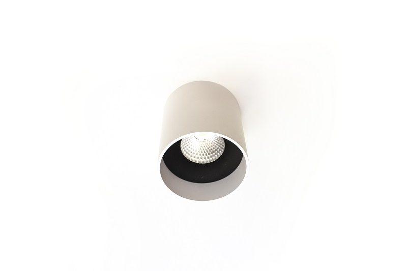 מנורה צמודת תקרה מוגנת מים צילינדר לבן לתאורת חוץ / פרגולה