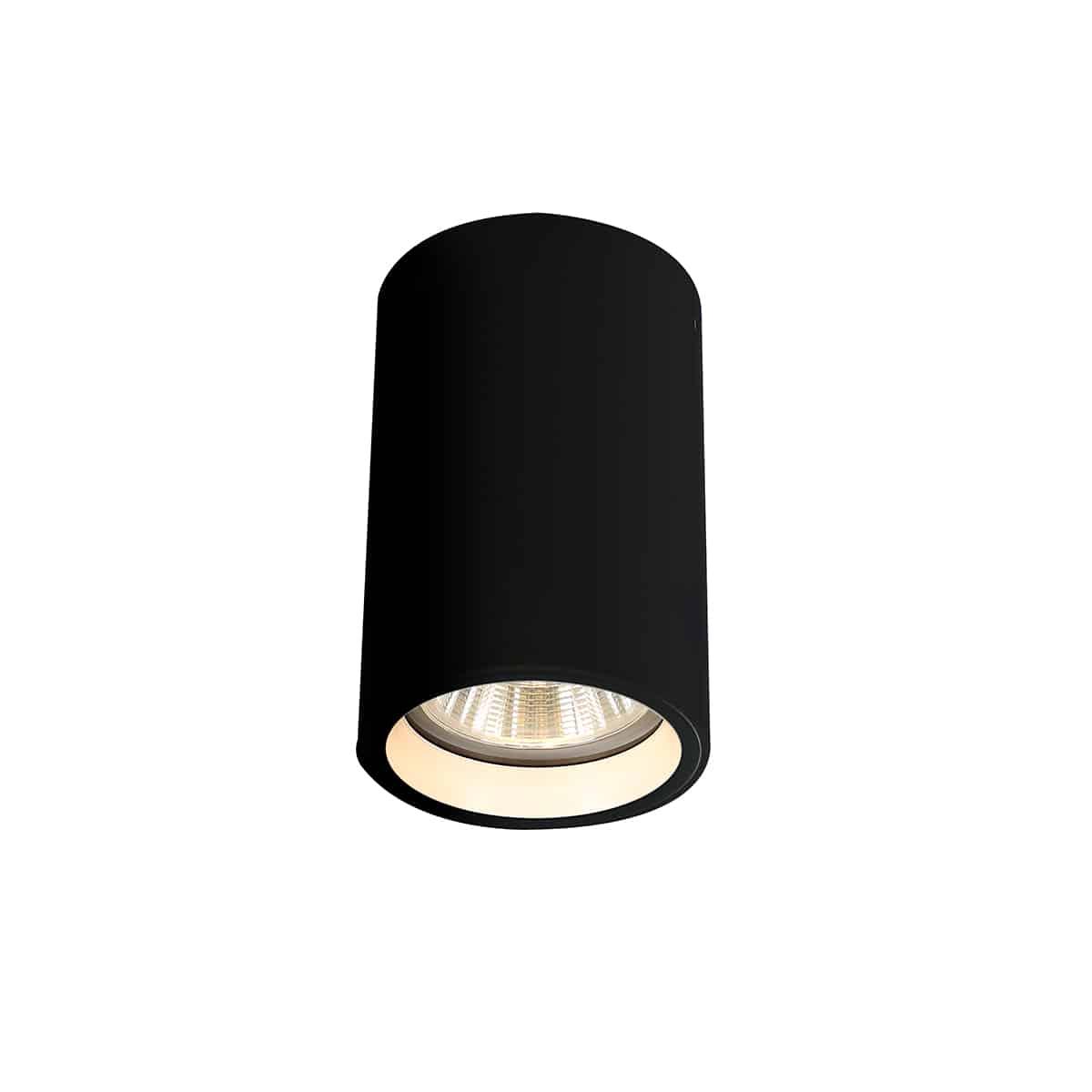 גוף תאורה לתקרה מוגן מים צילינדר שחור מתאים לתאורת חוץ