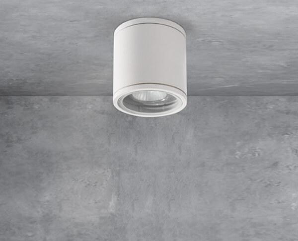 מנורת חוץ מוגנת מים צילינדר לבן תקרה