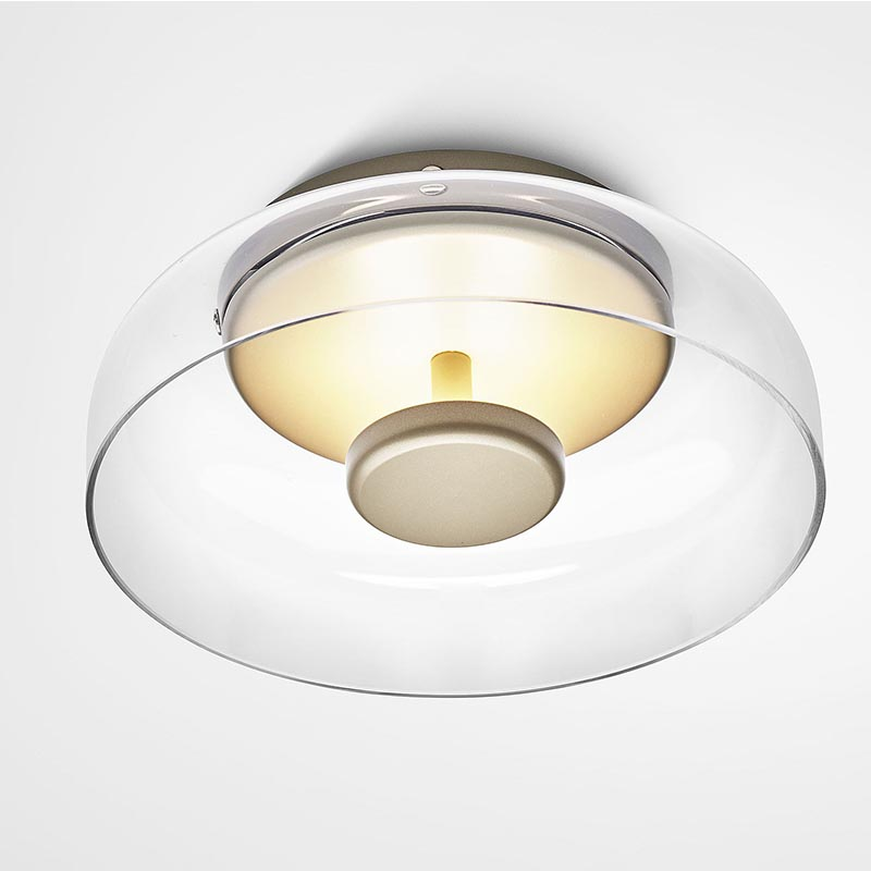 מנורת קיר עגולה אהיל זכוכית שקוף