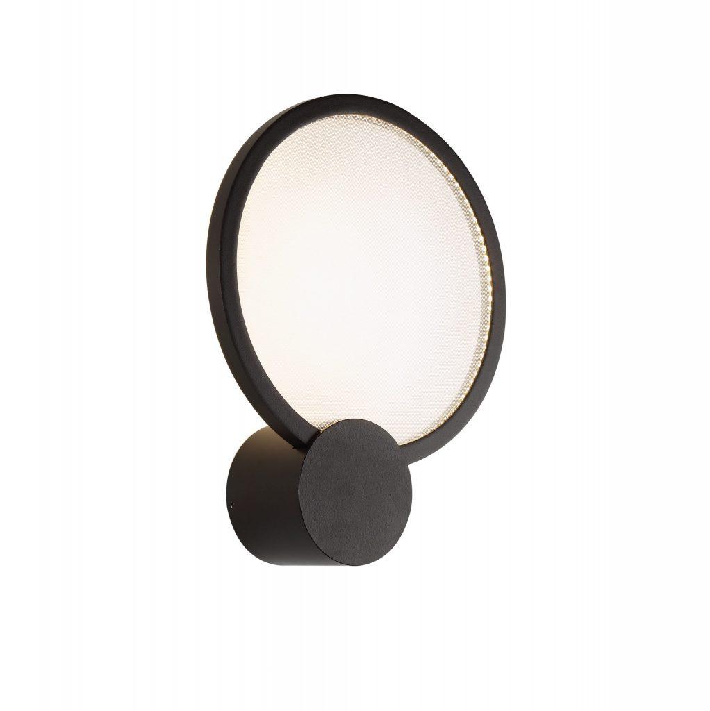 מנורת קיר דיסקית מסגרת שחורה גוף בהיר