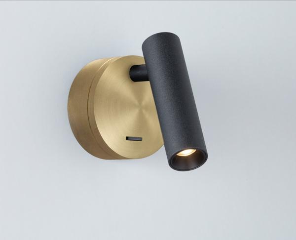 מנורות קריאה לחדר שינה צילינדר שחור בסיס פליז