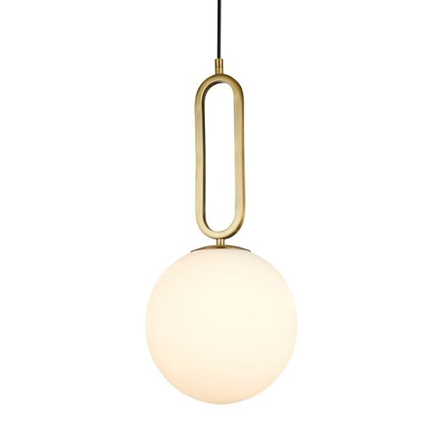 מנורת זכוכית חלבית בשילוב טבעת מוזהבת