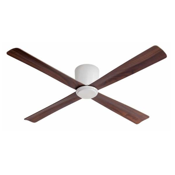 מאוורר תקרה סווינג גוף לבן כנפיים עץ כהה מתאים לתקרות נמוכות